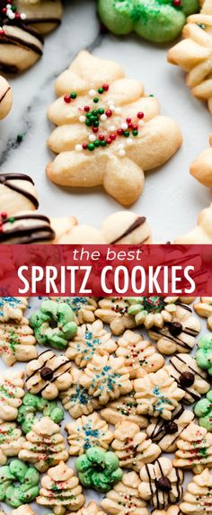 These are the BEST Christmas spritz cookies! Butter cookies made with a cookie press recipe on sallysbakingaddiction.com