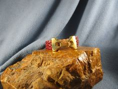 Maroon Braided Flat Leather Bracelet with Gold Clasp