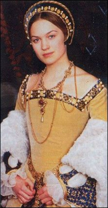Gown made for the character of Lady Jane Grey (played by Sophia Myles) for the BBC's 1996 broadcast of the Prince and the Pauper series. EXCELLENT costuming in that series!! See that blue and gold fabric for the undersleeves? Its REAL cloth of gold. I have it in ivory and gold for my 1540s wedding gown.