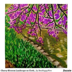 Cherry Blossom Landscape on Cloth Napkin Set