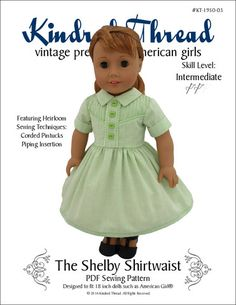 Kindred Thread Shelby Shirtwaist Doll Clothes Pattern 18 inch American Girl Dolls   Pixie Faire