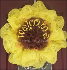 Yellow deco mesh sunflower wreath with welcome sign