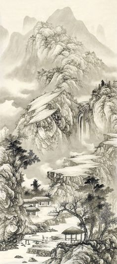 Liu Guang p i n t e r e s t : abbbygiiirl Asian Landscape, Chinese Landscape Painting, Japanese Landscape, Japanese Painting, Chinese Painting, Chinese Art, Landscape Art, Landscape Paintings, Japanese Drawings
