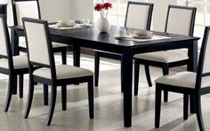 "Dining Table in Distressed Black - Coaster by Coaster Home Furnishings. Save 53 Off!. $398.36. wood black dining table. square black dining table. modern black dining table. black dining table. distressed black dining table. Dimension: 40""W x 60""L-78""L x 30""H Finish: Distressed Black Material: Solid Hardwood, Veneer Extendable Dining Table Contemporary Style Distressed Black Finish Features 18"" extension leaf. Item is beautifully crafted from solid hardwoods and wood veneers in a distr..."