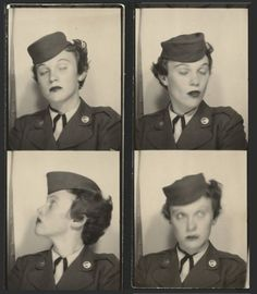 Photobooth strip of a Women's Auxiliary Army Corps volunteer. #vintage #photobooth #1940s