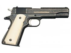 Engraved and Gold Inlaid Colt MK IV Series 70 1911 Semi-Automatic Pistol with Ivory Grips