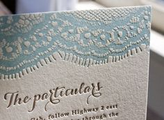 Vintage-Inspired Country Lace Wedding Invitations by Lucky Luxe Couture Correspondence via Oh So Beautiful Paper (2)