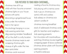 I made a {free} printable to share with you...it's a List of Pictures to Take Each Christmas...