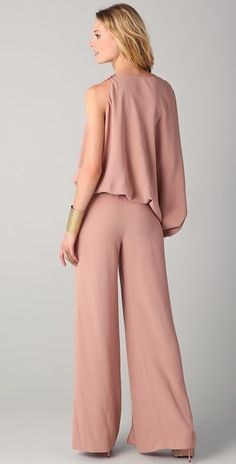 Silhouette: Loose Sleeve Length: Long Sleeve Sleeve Types: Regular Style: Casual,Fashion Neckline/Collar: Round Neck Pattern Type: Plain Material: Polyester Decoration: Belt Shoulder(cm): Length(cm): Bust(c Catsuit, Maria Grachvogel, Moda Formal, Pink Jumpsuit, Pink Trousers, Types Of Sleeves, Sleeve Types, Wide Leg Pants, Refashioned Clothes