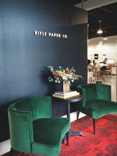 Are we all Anna Bond fanatics? I live in a design-intense world - both graphic and interior - so I assume Anna Bond of Rifle Paper Co. Anna Bond, Office Seating, Rifle Paper Co, Black Walls, Navy Walls, Office Interiors, Interior Office, Shop Interiors, Color Inspiration