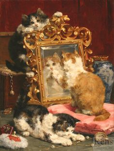 """Painting of the Day (SOLD archives): Charles H. van den Eycken's """"Cats at Play"""" - http://rehs.com/blog/2016/01/painting-of-the-day-sold-archives-charles-h-van-den-eyckens-cats-at-play/"""