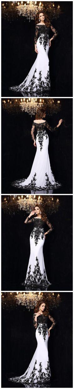 2018 TRUMPET/MERMAID PROM DRESSES LONG BLACK SCOOP PROM DRESS EVENING DRESSES M1196#prom #promdress #promdresses #longpromdress #promgowns #promgown #2018style #newfashion #newstyles #2018newprom#eveninggown#mermaidpromdress#blackappliques#longsleeve