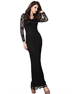 Pink Queen Womens Glamorous V-Neck Long Sleeve Floral Lace Bodycon Maxi Evening Dress $29.99 (On sale from $46.99)