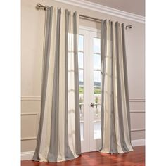 Exclusive Fabrics Del Mar Grey Linen Blend Stripe Curtain Panel - 15639249 - Overstock - Great Deals on Exclusive Fabrics Curtains - Mobile