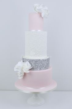 Blush and Silver Sequins wedding cake by Blossom Tree Cake Company, Harrogate, North Yorkshire