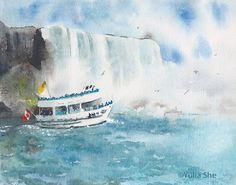 """Original watercolor painting Niagara falls landsape 8 1/8x10 1/4"""" by YuliaShe on Etsy"""