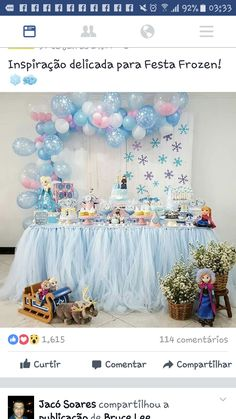 New party winter ideas frozen birthday ideas Frozen First Birthday, Winter Birthday Parties, Frozen Themed Birthday Party, Disney Frozen Birthday, Cake Birthday, Frozen Party Decorations, Birthday Party Decorations, Birthday Ideas, Frozen Backdrop
