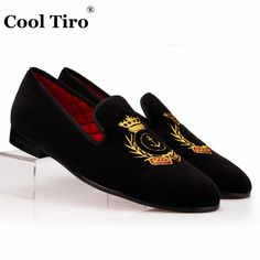 fd22451f91e COOL TIRO Black Velvet Men Loafers Gold Embroidered Slippers Flats Party Wedding  Mens Dress Slip on Shoes Spring and Autumn-in Formal Shoes from Shoes on ...