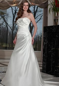 A-line/Princess Strapless Chapel  Bridal Gown (3AA0541)