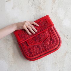 Saadia Red Marrakech ABURY Berber Handbag