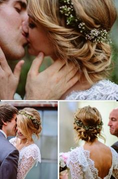 Gorgeous wedding hair style that ties perfectly with a bit of nature brought in from her headband.