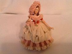 Vintage Antique German Dresden Lace Lady Doll Figurine Pink Original | eBay