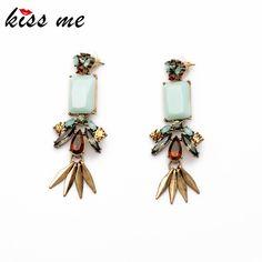 2,68€ - Resin Zinc Alloy Leaf Light Blue Moonstone Women Elegant Earring - ShiJie Jewelry Factory