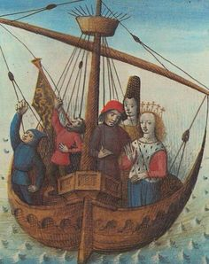Tristan and Iseult on their way to Cornwall, a medieval miniature by Évrard d'Espinques century) Medieval Books, Medieval World, Medieval Manuscript, Medieval Art, Illuminated Manuscript, Tristan Isolde, Tristan Et Iseult, Ship Figurehead, Medieval Paintings