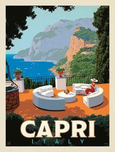 Anderson Design Group – World Travel – Italy: Capri italy Anderson Design Group Art Deco Posters, Poster Prints, Art Print, Travel Photographie, Tableau Pop Art, Capri Italy, Italy Italy, Retro Poster, Travel Illustration