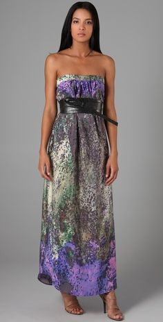 Strapless Belted Gown by Haute Hippie