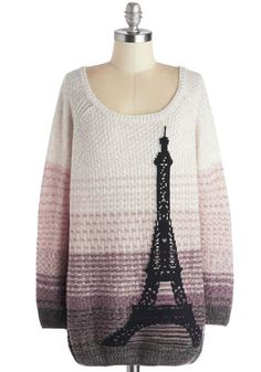 Paris Sunrise Sweater - Multi, Tan / Cream, Casual, Long Sleeve, Better, Knit, Long, Purple, Pink, Black, Grey, Novelty Print, Scoop
