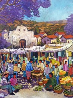 Art by Efren Gonzalez of Ajijic inside his art gallery of the same name  #mexicanart #artemexicano #Mexico #Mexican #lake #church #village #Chapala #Efren #artist #painting #Ajijic