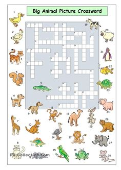 Big Animal Picture Crossword