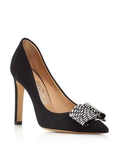 $Salvatore Ferragamo Mimi Suede and Elaphe Pointed Toe Pumps (=)