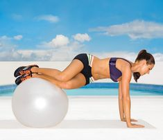 Rotating Ball Plank Start in plank with ball under shins. Twist hips to roll ball to outside of left shin and engage abs to tuck knees in and pull them toward right side (as shown). Return to start; repeat on opposite side for 1 rep. Do 12 reps.