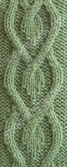 Unusual knitted cable pattern.  (Russian site, no translation on page.)