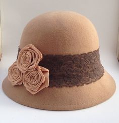 72b2b80b767 REDUCED  Taupe Tan Khaki Nude Wool Felt Vintage Inspired Flapper Cloche  Bucket Hat-1920s Gatsby Retro Dome Fedora Fashion-QUALITY DISCOUNT