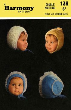 Vintage Baby Hats in 4 Styles Knitting Pattern by LittleJohn2003