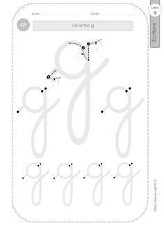 la lettre g au CP:FICHES d'ECRITURE. Modèles d'écriture
