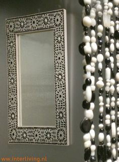 black & white bead curtain for classic home decoration & styling.