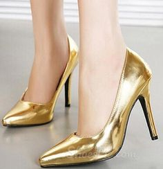 Golden Pu Point Toe Stiletto Heels From the Plus Size Fashion Community at www.VintageandCurvy.com