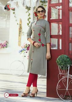 "Specification : NAME : Honey Vol-5 TOTAL DESIGN : 14 PER PIECE RATE : 395/- FULL CATALOG RATE : 5530/-+(5%GST) + Shipping Charge WEIGHT : 6 SIZE : M | L | XL | XXL | Type : Long Kurtis MOQ : Minimum 14 Pcs. Fabric Description : Heavy Rayon(14 kg) with prints & embroidery work | Length - 45 to 47"" approx. UPCOMING DATE : 22-05-2018 Kurta Designs Women, Blouse Designs, Indian Designer Outfits, Indian Outfits, Long Kurti Patterns, Modele Hijab, Kurti Embroidery Design, Iranian Women Fashion, Traditional Outfits"
