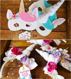 Make your own unicorn horns station - Pastel Unicorn Birthday Party. Great activity for the kids!
