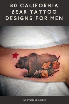 A California bear tattoo combines geographical patriotism with a bold bond to one of Earth's most ferocious creatures. These grizzlies carry plenty of austere symbolism that any guy will cherish.For ink that packs a furious punch while also delivering an environmental message, guys everywhere are partaking in the brilliance of California bear body art.#nextluxury #tattooideas #tattoodesigns