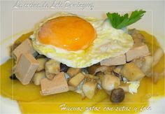 La cocina de Loli Domínguez: Huevos rotos con setas y foie