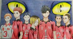 Colour pencil drawing of Nekoma  #Nekoma #team #cat #neko #Haikyuu #Haikyu #HQ #Kuroo #Kenma #Yaku #Yamamoto #Inuoka #Nobuyuki #Fukunaga #Volleyball #players #Anime #art #Colour #pencil