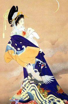 Japanese Drawing, Japanese Artwork, Japanese Painting, Japanese Prints, Art Geisha, Asian Cards, Art Chinois, Art Asiatique, Art Japonais