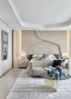 Modern Luxury Bedroom, Modern Minimalist Bedroom, Luxury Home Decor, Luxurious Bedrooms, Bedroom Ceiling, Bedroom Decor, Wall Cladding Designs, Futuristic Interior, H Design