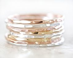 Hammered Silver Gold Rose Stacking Rings
