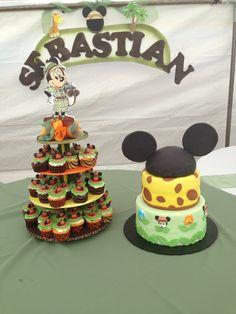 Mickey Mouse safari cake and cupcakes